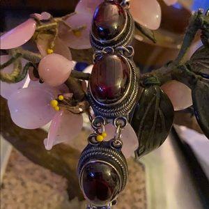 Antique Asian sterling red jade bracelet